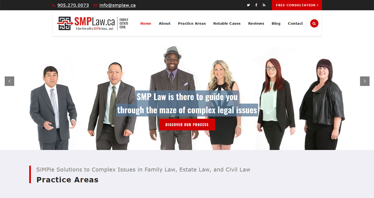 Home page of new SMP Law screenshot